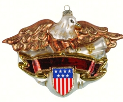 Patriotic Eagle Blown Glass Ornament