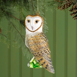 Cobane Studio Barn Owl Glass Ornament