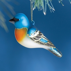 Cobane Studio Lapis Lazuli Bunting Blown Glass Ornament