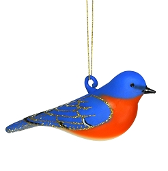Cobane Studio Eastern Bluebird Male  Blown Glass Ornament