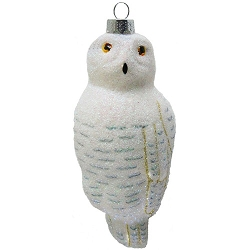 Cobane Studio Snowy Owl Blown Glass Ornament