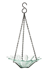 Daisy Hanging Glass Bird Feeder Clear 8