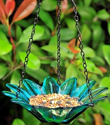 Daisy Hanging Glass Bird Feeder Aqua 8