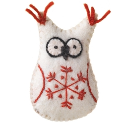Snowflake Owl White Ornament
