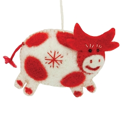 Snowflake Cow White Ornament