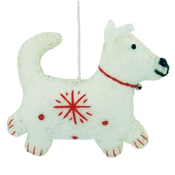 Snowflake Dog White Ornament