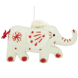 Snowflake Elephant White Ornament
