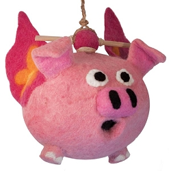 Wild Woolies Flying Pig Felt Birdhouse