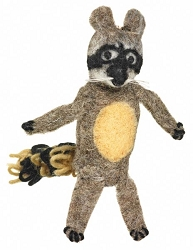 Wild Woolies Raccoon Finger Puppet Ornament