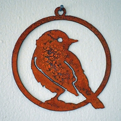 Elegant Garden Design Silhouette Yellow Warbler Ornament