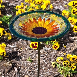 Sunflower Bloom Glass Birdbath with Stake