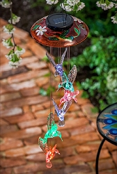 Decorative Glass Topper Solar Hummingbird Mobile Red