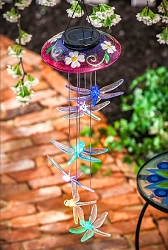Decorative Glass Topper Solar Dragonfly Mobile Purple
