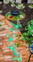 Decorative Glass Topper Solar Butterfly Mobile Yellow