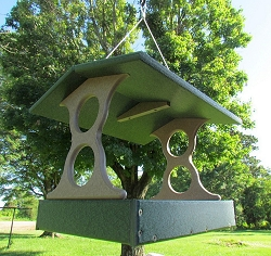 Recycled Plastic Fly-Through Bird Feeder Large Green/Tan
