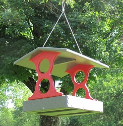 Recycled Plastic Fly-Through Bird Feeder Medium Red/Gray