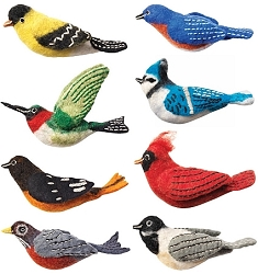 Wild Woolies Backyard Bird Ornament Collection #1 Set of 8
