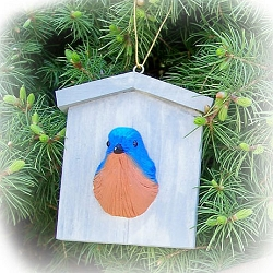 Bluebird House Ornament