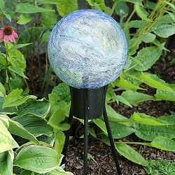 Crackle Glass Gazing Globe Lapis Blue 10