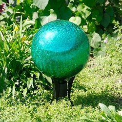 Crackle Glass Gazing Globe Emerald Green 10
