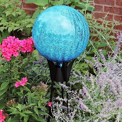 Crackle Glass Gazing Globe Teal 6