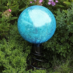 Crackle Glass Gazing Globe Teal 12
