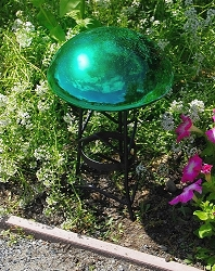 Crackle Glass Toadstool Emerald Green