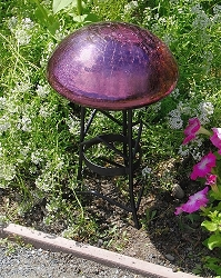 Crackle Glass Toadstool Plum
