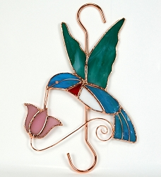 Hummingbird with Pink Flower Stained Glass Garden Hook