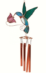Hummingbird with Pink Flower Stained Glass Windchime Small 20