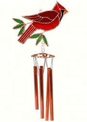 Cardinal Stained Glass Windchime Small 20