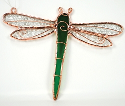 Dragonfly Green Stained Glass Suncatcher