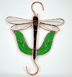 Dragonfly with Leaves Stained Glass Garden Hook