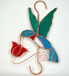 Hummingbird with Red Flower Stained Glass Garden Hook