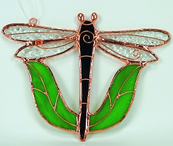Dragonfly Black with Leaves Stained Glass Suncatcher