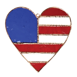 Patriotic Heart Stained Glass Suncatcher
