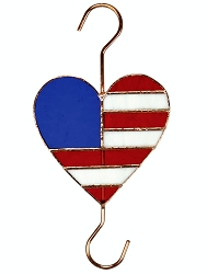 Patriotic Heart Stained Glass Garden Hook