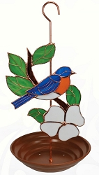 Bluebird Stained Glass Bird Feeder