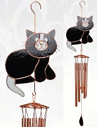 Black and White Cat Stained Glass Windchime Large 40