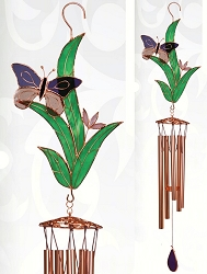 Butterfly Purple with Leaves Stained Glass Windchime Large 40