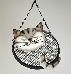 Black & White Cat Mesh Bird Feeder