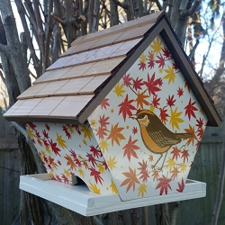 Botanical Floral Print Wren Cottage Bird Feeder Wren with Maple Leaves