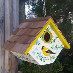 Botanical Floral Print Wren Cottage Birdhouse Goldfinch with Forget Me Nots