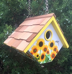 Botanical Floral Print Wren Cottage Birdhouse Sunflowers