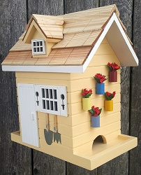 Nestling Series Potting Shed Bird Feeder Yellow