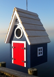 Dockside Cabin Birdhouse Blue