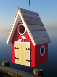 Dockside Cabin Birdhouse Red