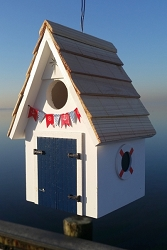 Dockside Cabin Birdhouse White