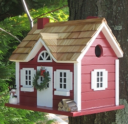 Christmas Cape Cottage Birdhouse Red