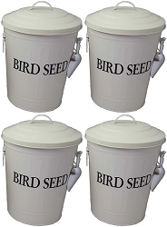 Bird Seed Storage Containers 6.5 Gallon Beige Set of 4